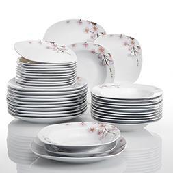 VEWEET 36-Piece Porcelain Dinnerware Set Service for 12 Cera