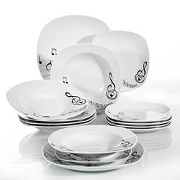VEWEET 18-Piece Porcelain Dinnerware Sets Square Musical Not