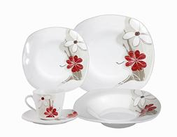 Lorenzo Import Porcelain 20-Piece Square Dinnerware Set Serv