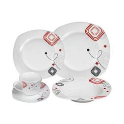 Lorren Home Trends LH413 Dinnerware Set 20 Piece Square Serv