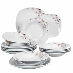 Porcelain Stoneware Dinnerware Set Service for 6 Ivory White