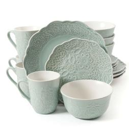 Gibson Elite Portina 16 Piece Dinnerware Set, Mint Green