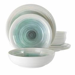 Elama Potters Wheel 12 Piece Lightweight Melamine Dinnerware