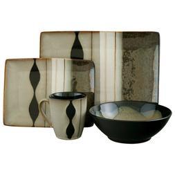 Sango Prelude Black 16 Piece Stoneware Reactive Glaze Dinner