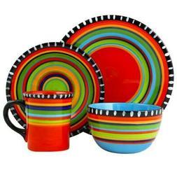 Gibson Elite Pueblo Springs 16-Piece Dinnerware set, Multico