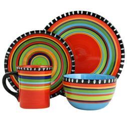 Pueblo Springs Dinnerware 16-Piece Festive Colors Dinner Des