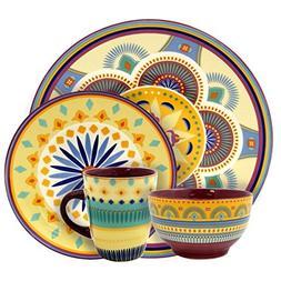 Elama Puesta De Sol 16 Piece Service for 4 Stoneware Dinnerw