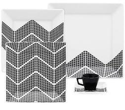 Oxford Quartier Porcelain Pied Collection Dinnerware Set, Wh