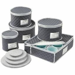 mDesign Quilted Protective Dinnerware Storage, 5 Piece Set -