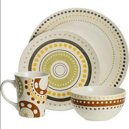 Rachael Ray Circle and Dots Stoneware 16 pc Dinnerware Set
