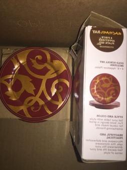 rachel ray dinnerware Gold Scroll 4 Appetizer Plate Set Cran