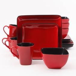 16-Piece Rave Dinnerware Set, Red