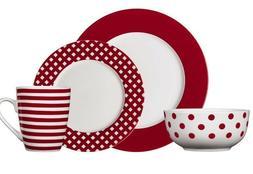 Red 16 Piece Dinnerware Set Pfaltzgraff Kenna Service for 4