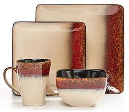 Red & Gold Square Dip-Dye 16-Piece Dinnerware Set
