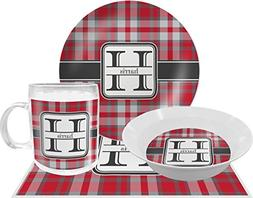 Red & Gray Plaid Dinner Set - 4 Pc