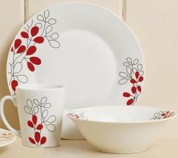 Gibson Red Leaves 24-Piece Porcelain Dinnerware Set for 8 FR