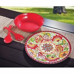 Red Serveware Tray Set 4 Piece - Red - Melamine