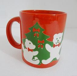 Waechtersbach Red Teddy Bears Christmas Tree Mug Holiday 12