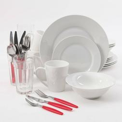 Regal White II 32-Piece Dinnerware Combo Set - Porcelain, Gl