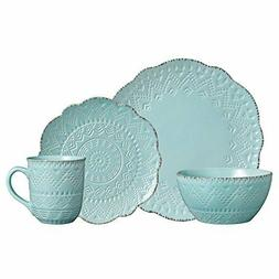 Pfaltzgraff Remembrance Teal 16 Piece Dinnerware Set