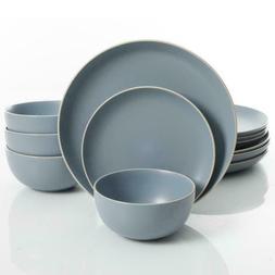 rockaway 12 piece blue matte glaze dinnerware