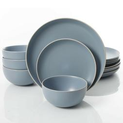 Gibson Home Rockaway 12 Piece Dinnerware Set, Matte Blue