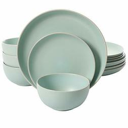 Gibson Home 114387.12RM Rockaway 12 Piece Dinnerware, Teal M