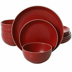 Gibson Home 114386.12RM Rockaway 12 Piece Dinnerware, Red Ma