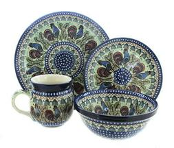 Blue Rose Polish Pottery Rooster Row 16 Piece Dinner Set