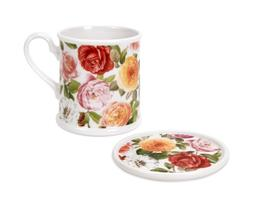 Portmeirion Rose Bouquet Tankard Mug & Coaster Set  12 oz.