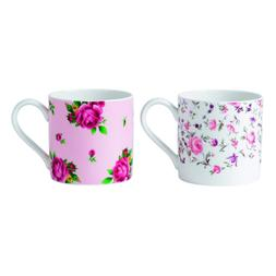 Royal Albert Rose Confetti/New Country Rose Mugs, Pink, Set