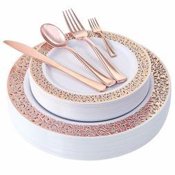 WDF 150PCS Rose Gold Plastic Plates with Disposable Plastic