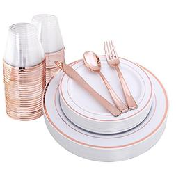 Rose Gold Plates & Plastic Silverware & Rose Gold Cups , Pre