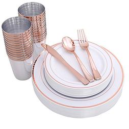 150 Piece Rose Gold Plates & Plastic Silverware & Rose Gold