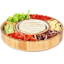 Rotating Appetizer Serving Platter - Taco Tray with Detachab