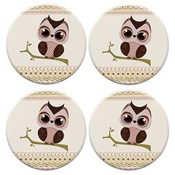 CARIBOU ROUND Ceramic Stone Coasters 4pcs Set, Mug Coffee Cu