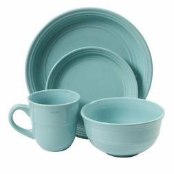 16-Piece Round Dinnerware Set, Kitchen Stoneware Plates, Dis