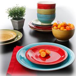 Round Dinnerware Set For 8 Durastone 24Pc Plates Bowls Dishe