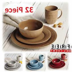 Round Dinnerware Set For 8 Stoneware Kitchen 32Pc Plates Bow