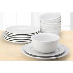 12 Piece Round Dinnerware Set White Dishes Plates Bowls Ston