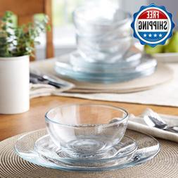 Round Glass Dinnerware Set For 4 Servings Bowls Dinner & Sal