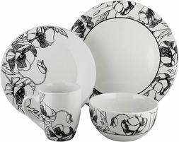 Elle Décor Round Plates Bowls Mugs 16 PIECE Dinnerware SET,