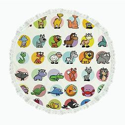 "iPrint 55"" Round Polyester Linen Tablecloth,Zoo,Funny Cute C"