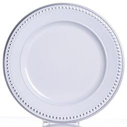 """Tableclothsfactory 13"""" Round Silver Rim Crystal Beaded White"""