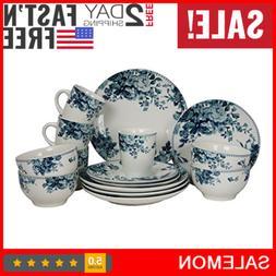Round Stoneware Color Pattern Dinnerware Dish Set 16 Piece W