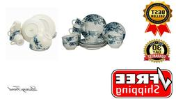 Round Stoneware Color Pattern Dinnerware Dish Set 16 Piece W