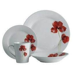 Ruby and Poppy Round Rim Dinnerware Set - 16 Pc, Porcelain