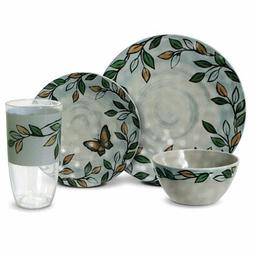 Pfaltzgraff Rustic Leaves Melamine Outdoor Dinnerware Set