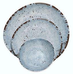 Melange Rustic Melamine Dinnerware Set Chip Resistant Shatte