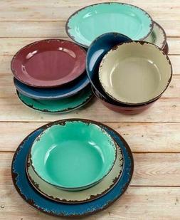 Rustic Melamine Dinnerware Set - Plastic Farmhouse Plates an